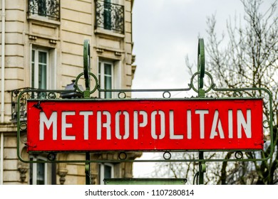 Metropolitain sign, Photo image a Beautiful panoramic view of Paris Metropolitan City