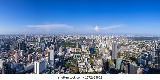 The Metropolitan Bangkok City - Aerial  Panorama view urban tower Bangkok city  Thailand on April 2019 , blue sky background , Panoramic Cityscape Thailand