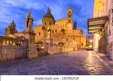 Metropolitan Cathedral of the Assumption of Virgin Mary in Palermo at night, Sicily, Italy