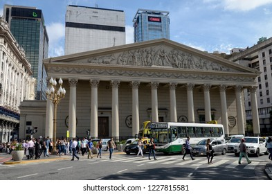 Metropolitan Cathedral, Buenos Aires, Argentina - December, 2015: The Buenos Aires Metropolitan Cathedral is the mother church of the Archdiocese of Buenos Aires and the primatial church of Argentina.