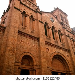 Metropolitan Cathedral of Medellin (Colombia), Basilica of the Immaculate Conception. A Catholic cathedral dedicated to Virgin Mary. Architectonic style, Romanesque Revival or Neo-Romanesque