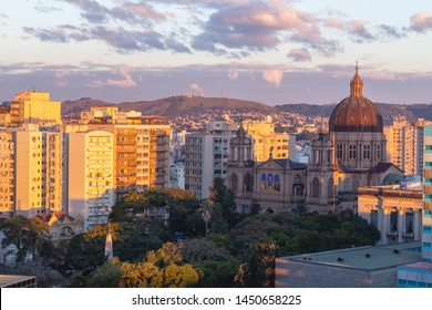Metropolitan Cathedral of Porto Alegre and the sunset lights on the buildingd