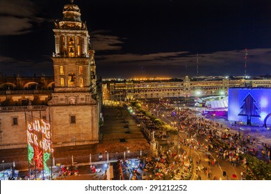 Metropolitan Cathedral and President's Palace in Zocalo, Center of Mexico City Mexico Christmas Night
