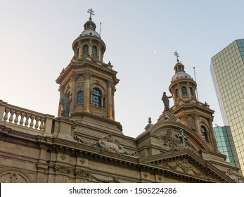 Metropolitan Cathedral of Santiago, in the Armas square. It is the main temple of the Catholic Church in the country, built between 1748-1800. Santiago de Chile, Chile.