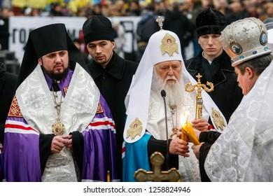 Metropolitan Epifaniy (Dumenko) (L) and Patriarch of Kyiv and All Rus' - Ukraine Filaret  (C)  during liturgy in  Kyiv, Ukraine. 26-11-2011