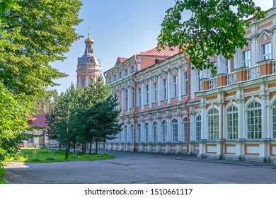 Metropolitan garden with the Southwest tower (ancient storage and library) and Metropolitan house in the Saint Alexander Nevsky Lavra or Saint Alexander Nevsky Monastery in Saint Petersburg, Russia