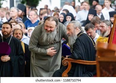 Metropolitan Onufriy (head of the Ukrainian Orthodox Church (Moscow Patriarchate)) (R) and Superior of Kyiv-Pechersk Lavra Pavlo  during the liturgy in Kyiv, Ukraine.  27-07-2016