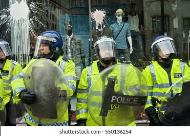Metropolitan Police Officers Covered In Paint During The G20 Protests, Oxford street, London, England, 26/03/2011