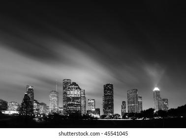 Metropolitan Skyline at Night in Black and White - Houston, Texas