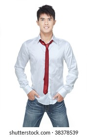 Metrosexual, handsome chinese hunk in white shirt,  jeans, red tie