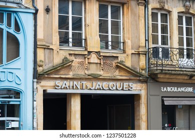 Metz, FRANCE - April 1, 2018: Antique building view in Old Town Metz, France