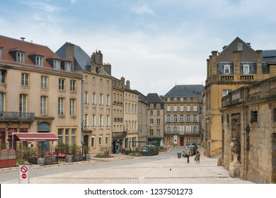 Metz, FRANCE - April 1, 2018: Street view of downtown in Metz, France