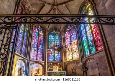 METZ, FRANCE - AUG 26, 2018: interior view of Cathedral of Saint-Etienne Metz Lorraine Moselle France with colorful stained windows.
