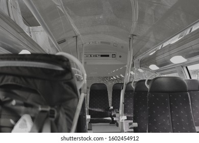 METZ, FRANCE - August 16, 2019: Black and white interior photo of train on his way from Metz Ville to Nancy, Alsace-Lorraine. Seats in fast train, nobody inside.