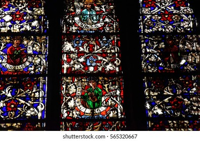 Metz, France - july 25 2016 : stained glass window of the Saint Etienne cathedral