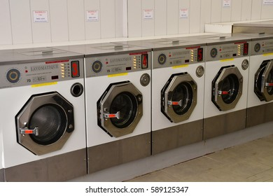Metz, France - july 25 2016 : washing machines in a laundrette