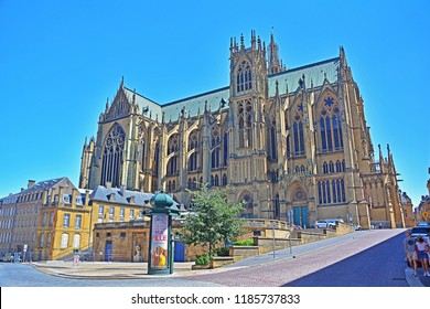 METZ, FRANCE - JULY 8, 2018 - Cathedral of Saint Stephen of Metz, dominant feature of the city's old town