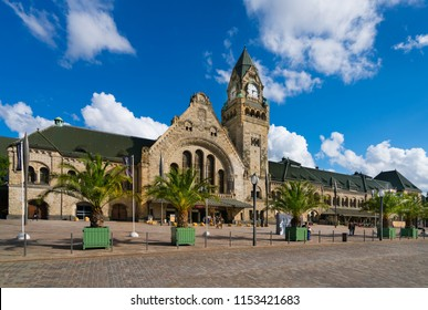 Metz, France - June 28, 2017: Exterior view of the railway station Metz-Ville (French: Gare de Metz-Ville) in the city of Metz, France, on the Général de Gaulle square.