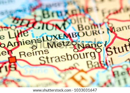Metz France On Map Stock Photo Edit Now 1033031647 Shutterstock