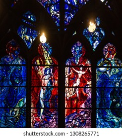 METZ, FRANCE, SEPTEMBER 01,  2018 : interiors and details of the cathedral, september 01, 2018, in  Metz, France