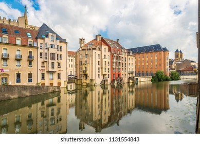 METZ,FRANCE - MAY 16,2018 - View at the river Mosela with buildings in Metz. Metz has a rich 3,000 year history.