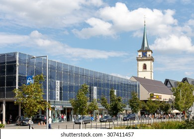 METZINGEN, GERMANY - AUGUST 18, 2015: Shops and Parking Garage at the Outlet City Metzingen, home of Hugo Boss