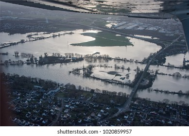 MEULAN_FRANCE_FEBRUARY_2018 : aerial view of flood on the Seine near Paris at Epones