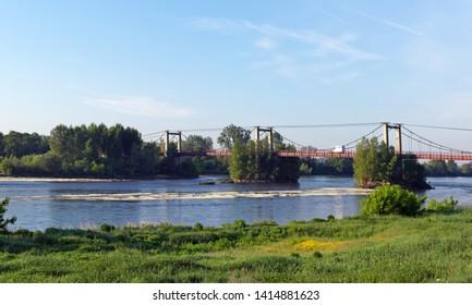 Meung sur Loire suspension bridge in the Loire valley