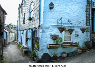 Mevagissey, Cornwall / UK - July 5, 2020: Cottages in Mevagissey a coastal village in Cornwall England