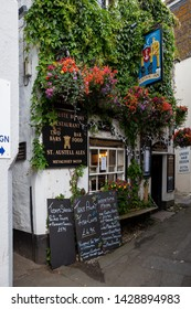 Mevagissey UK June 15th 2009 : Exterior view of the Fountain Inn, a typical English pub in Cornwall, UK
