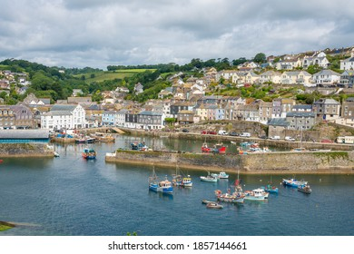 Mevagissey, United Kingdom - July 2020: Tourists in Mevagissey Harbour, Cornwall, England, United Kingdom