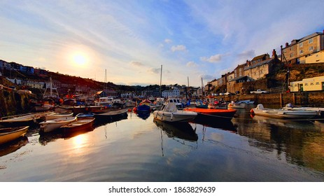 Mevagissey,Cornwall,UK 10-18-20 A beautiful autumnal sunset over Mevagissey, an historic village and fishing port.