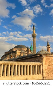 Mevlana mausoleum with domes and tower in Turkey