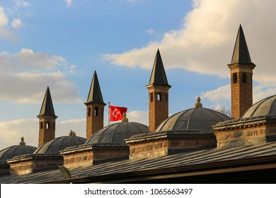 Mevlana mausoleum with domes and towers in Turkey