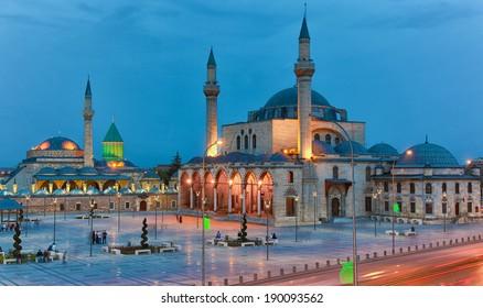 Mevlana musem and great view of Mevlana Square, Konya Turkey at twilight