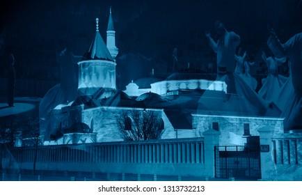 Mevlana museum mosque in Konya - Semazen or Whirling Dervishes - Konya, Turkey