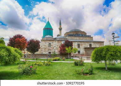 Mevlana Tomb and Mosque in Konya City. Mevlana museum view from garden, Mevlana Celaleddin-i Rumi is a sufi philosopher and mystic poet of Islam.