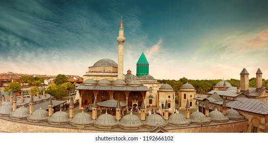 Mevlana Tomb and Mosque in Konya City. Mevlana museum view from above , Mevlana Celaleddin-i Rumi is a sufi philosopher and mystic poet of Islam.