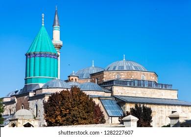 Mevlana Tomb and Mosque in Konya City - Turkey. Mevlana Celaleddin-i Rumi is a sufi philosopher and mystic poet of Islam.