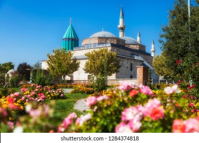 Mevlana Tomb and Mosque in Konya City - Turkey. Mevlana Tomb and Mosque view from garden, Mevlana Celaleddin-i Rumi is a sufi philosopher and mystic poet of Islam.