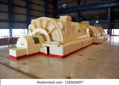 Mexicali, Baja California/MEXICO-Jan 16 2008: 110 Mega watts generator in geothermal power plant, Cerro Prieto at Comision Federal de Electricidad