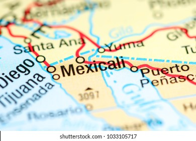 Mexicali. Mexico on a map