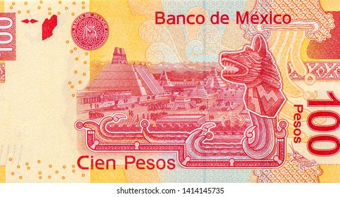 Mexican 100 pesos banknote. Mexico money currency. Close Up UNC Uncirculated - Collection.