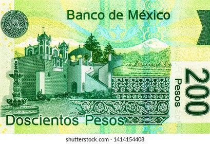 Mexican 200 pesos banknote. Mexico money currency. Close Up UNC Uncirculated - Collection.