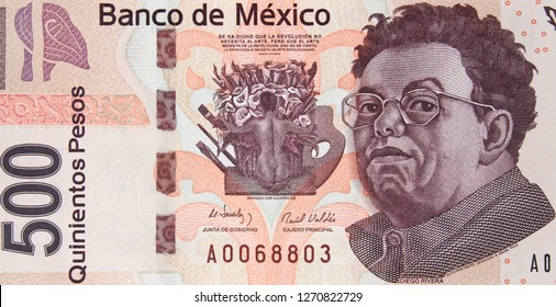 Mexican 500 peso (2010) bill, Diego Rivera. Mexico money currency close up.