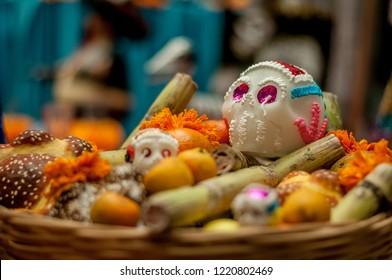 mexican altar, day of the dead, candles, papel picado, calaveras, halloween, catrinas, veladores, dark, terror, horror stories, ghosts, religion, cult, devils, los angeles, saints, mexican art
