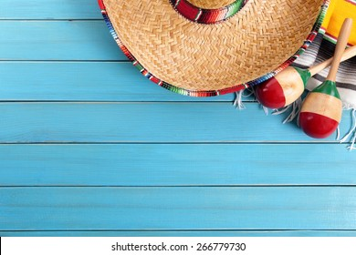 Mexican background, sombrero, copy space