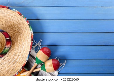 Mexican background, sombrero, top view