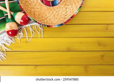 Mexican background, sombrero, wood, blanket