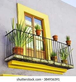 Mexican balcony with plants, agave, cactus and bright colors in Oaxaca